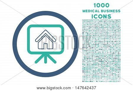 Project Slideshow rounded vector bicolor icon with 1000 medical business icons. Set style is flat pictograms, cobalt and cyan colors, white background.