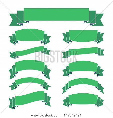 Green ribbon banners set. Beautiful blank for decoration graphic Old vintage style Flat design. Premium decorative elements isolated on white background. Template collection labels Vector illustration