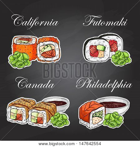 Sushi and rolls set. Fresh fish and rice. Soy sauce with sticks. Vector sushi color sticker.