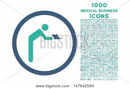 Servant rounded vector bicolor icon with 1000 medical business icons. Set style is flat pictograms, cobalt and cyan colors, white background.
