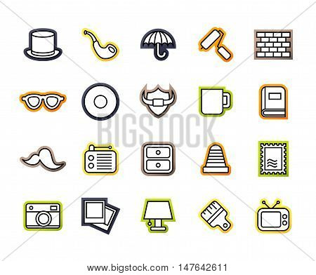 Outline icons thin flat design, modern line stroke style, web and mobile design element, objects and vector illustration icons set14 - vintage collection