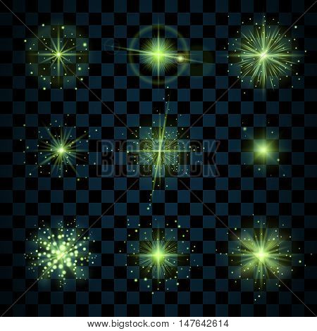Green shine stars with glitters sparkles icons set. Effect twinkle glare scintillation element sign graphic light. Transparent design elements dark background. Varied template. Vector illustration
