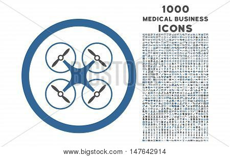 Copter rounded vector bicolor icon with 1000 medical business icons. Set style is flat pictograms, cobalt and gray colors, white background.
