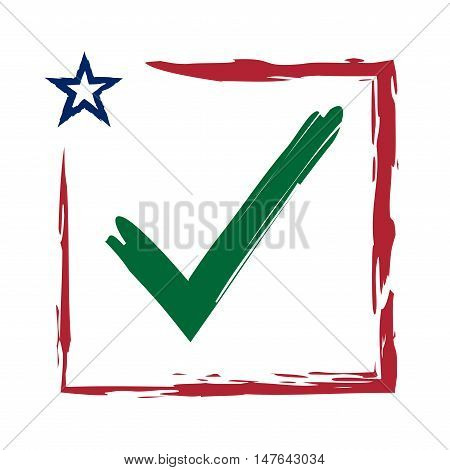 Presidential election USA sign with swoosh. Green blue and red design on white background for voting campaign. Vote patriotic mark. Symbol of political patriotism. Vector illustration