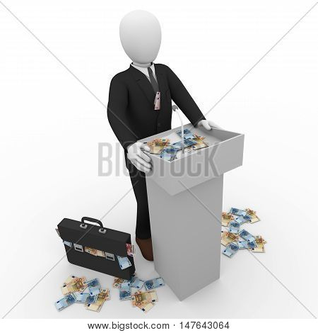 Person In Suit Giving Speech In Mic At Rostrum 3D Rendering