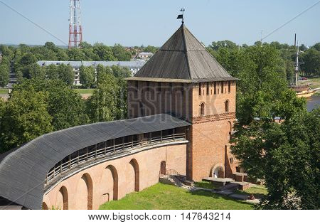 Wall and Vladimir tower of the Novgorod Kremlin. The view from the inner side