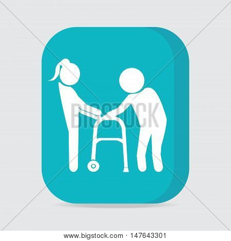 Woman helps elderly patient with a walker button vector illustration