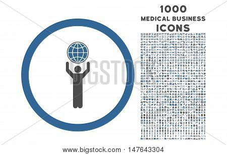 Globalist rounded vector bicolor icon with 1000 medical business icons. Set style is flat pictograms, cobalt and gray colors, white background.