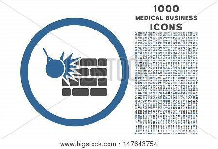 Wall Destruction rounded vector bicolor icon with 1000 medical business icons. Set style is flat pictograms, cobalt and gray colors, white background.