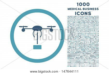 Copter Shipment rounded vector bicolor icon with 1000 medical business icons. Set style is flat pictograms, cyan and blue colors, white background.