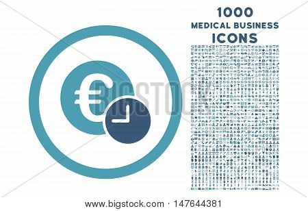 Euro Credit rounded vector bicolor icon with 1000 medical business icons. Set style is flat pictograms, cyan and blue colors, white background.