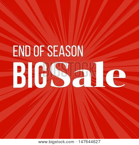 End of season Sale poster for advertising, banner, flat design vector with sun burst background