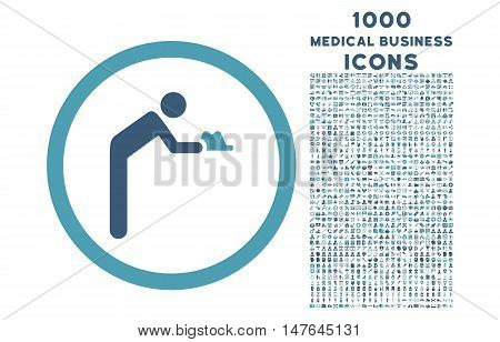 Servant rounded vector bicolor icon with 1000 medical business icons. Set style is flat pictograms, cyan and blue colors, white background.
