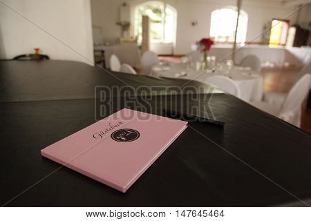Romantic marriage of couple with wedding guestbook