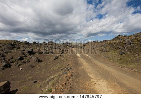 Rough empty dirt road in Icelandic volcanic inland is accesible just by 4x4 vehicles
