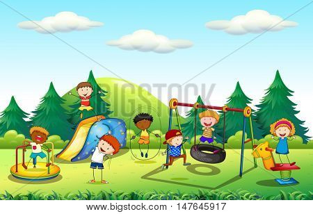 Many kids playing in the playground illustration