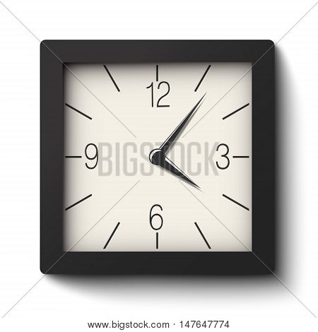Vector classic black and white square wall clock isolated on white