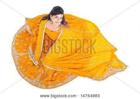 overhead view of Indian woman in traditional clothing sari