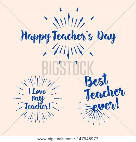 Set Of The Happy Teacher's Day Typography. Lettering Design For Greeting Card, Logo, Stamp Or Banner