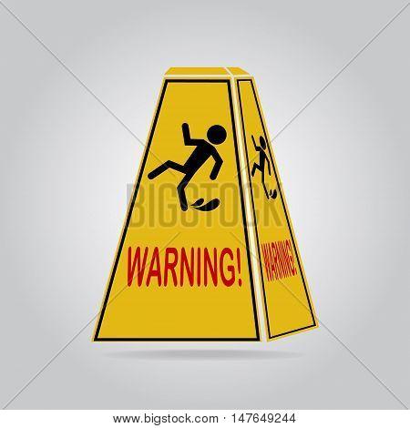 Wet floor warning sign icon vector illustration