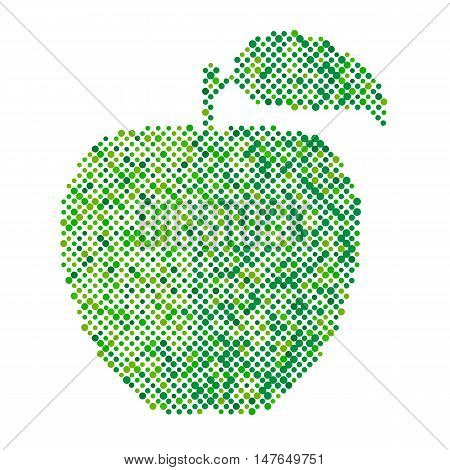 Green apple isolated, Ecology and bio food concept. Abstract apple dots design symbol, Green apple icon