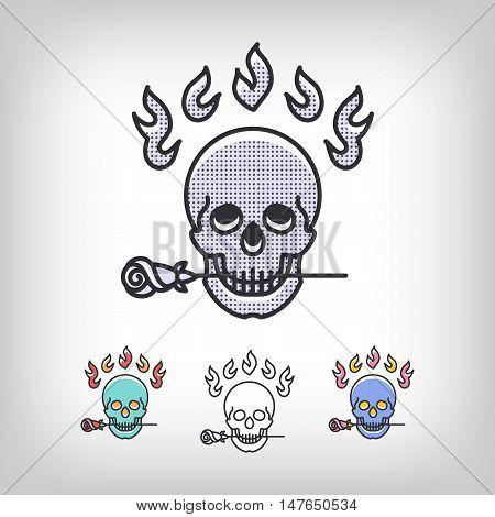 Vector skull logotype design set. Modern art thin line of the skull icon, Logo for the music studio, tattoo salon