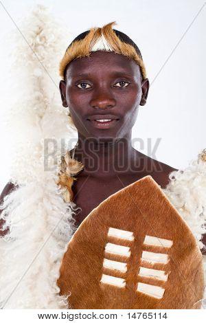 african tribesman closeup portrait