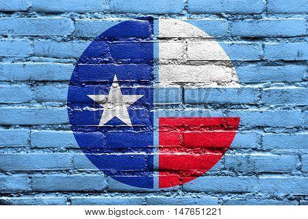 Flag Of Collin County, Texas, Usa, Painted On Brick Wall