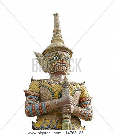 Giant statue of Thai style isolated on white background and have clipping paths.