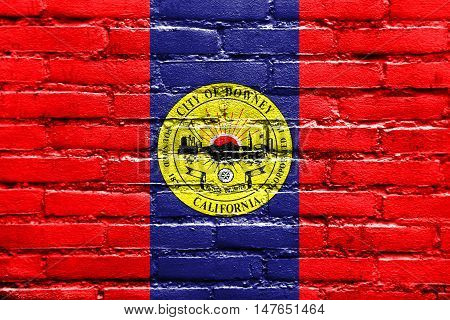 Flag Of Downey, California, Usa, Painted On Brick Wall