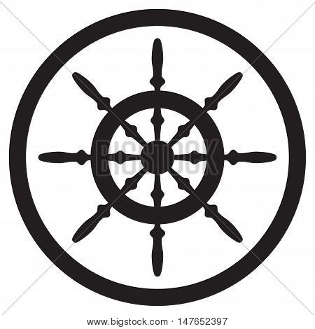 Steering wheel icon black for yacht direction and control. vector illustration