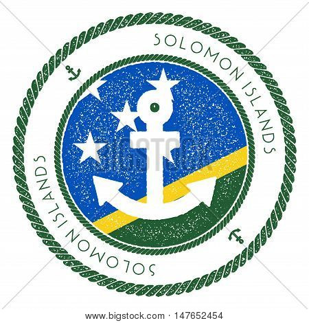 Nautical Travel Stamp With Solomon Islands Flag And Anchor. Marine Rubber Stamp, With Round Rope Bor