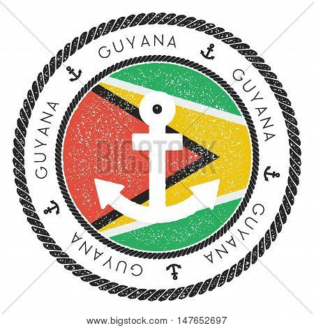 Nautical Travel Stamp With Guyana Flag And Anchor. Marine Rubber Stamp, With Round Rope Border And A