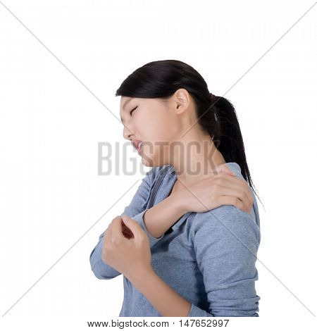 young asian woman with neck pain