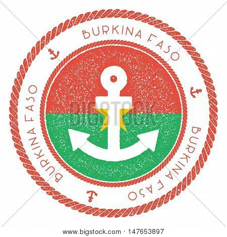 Nautical Travel Stamp With Burkina Faso Flag And Anchor. Marine Rubber Stamp, With Round Rope Border