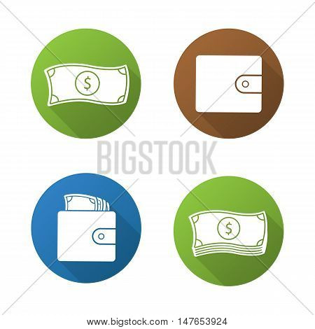 Money flat design long shadow icons set. Dollar bills stack, leather wallet full of banknotes, one us dollar. Cash. Currency. Vector symbols