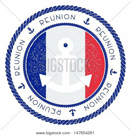 Nautical Travel Stamp With Reunion Flag And Anchor. Marine Rubber Stamp, With Round Rope Border And