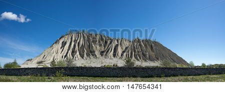 Mountain in the abandoned mines. Quarry and old prison architecture. The ashes dunes in Estonia Europe.