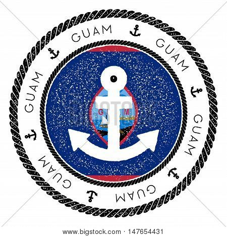 Nautical Travel Stamp With Guam Flag And Anchor. Marine Rubber Stamp, With Round Rope Border And Anc