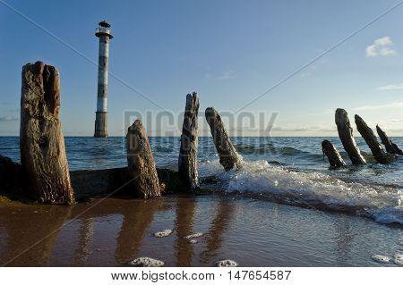 Skew lighthouse in the Baltic Sea. Kiipsaar Harilaid Saaremaa Estonia Europe.