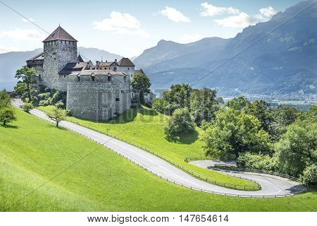 Medieval castle in Vaduz city in Liechtenstein