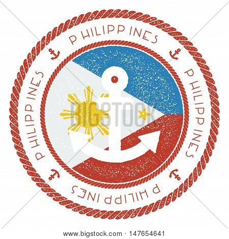 Nautical Travel Stamp With Philippines Flag And Anchor. Marine Rubber Stamp, With Round Rope Border