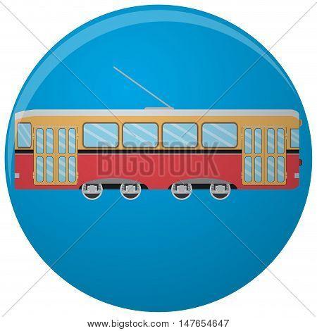 Tram icon flat. Vintage tramway side. Vector illustration
