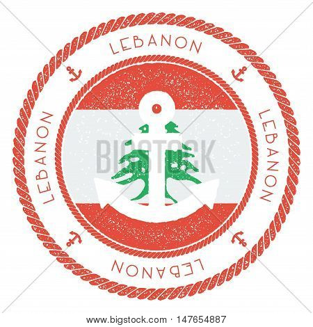 Nautical Travel Stamp With Lebanon Flag And Anchor. Marine Rubber Stamp, With Round Rope Border And