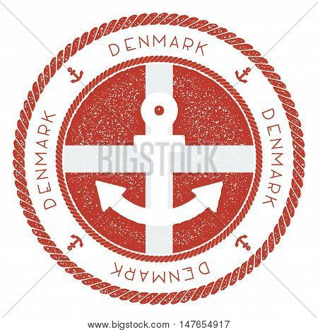 Nautical Travel Stamp With Denmark Flag And Anchor. Marine Rubber Stamp, With Round Rope Border And