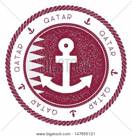 Nautical Travel Stamp With Qatar Flag And Anchor. Marine Rubber Stamp, With Round Rope Border And An