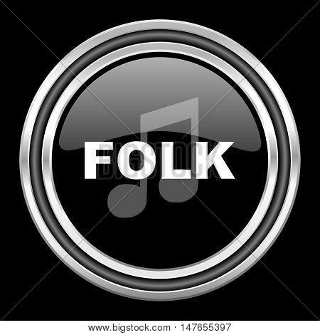 folk music silver chrome metallic round web icon on black background