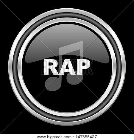 rap music silver chrome metallic round web icon on black background