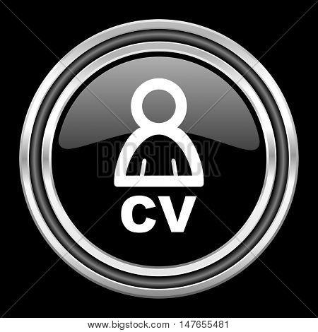 cv silver chrome metallic round web icon on black background