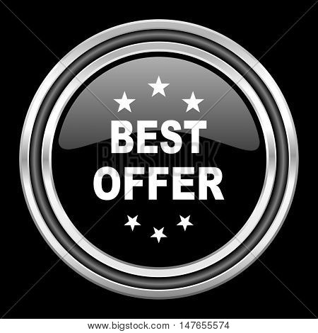 best offer silver chrome metallic round web icon on black background